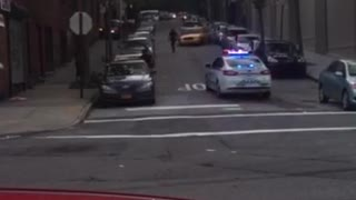 Car Fleeing from Cops Hits Every Parked Car on the Block (Alternate Angle) - Video