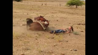 Tough Girl Gets Tossed From Horses Back - Video