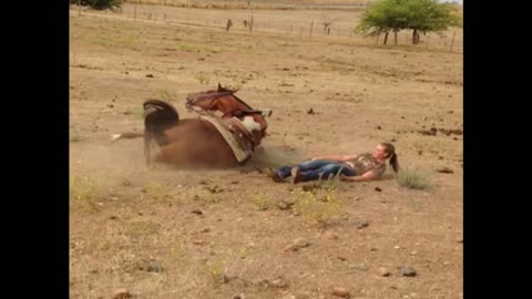 Tough Girl Gets Tossed From Horses Back