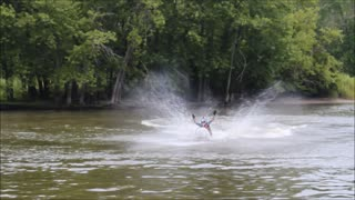 Landing a jet ski back flip with no hands!