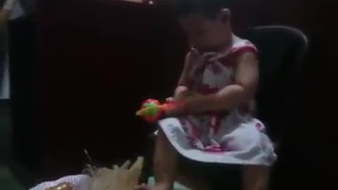 baby playing and laughing very funny
