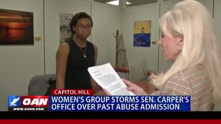 Women Concerned Against Domestic Violence storms Tom Carper's office