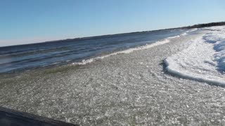Ice Waves at Thunder Bay  - Video