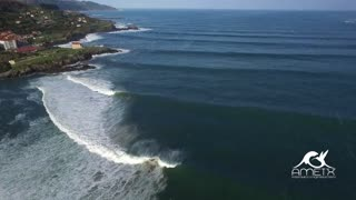 Drone footage captures world famous surfing scene