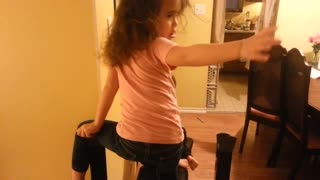 Toddler Gets Stuck On Her Father Bench Press  - Video