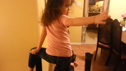 Toddler Gets Stuck On Her Father Bench Press