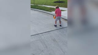 Boy Gets Blown Away By Leaf Blower - Video