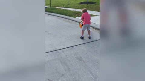 Boy Gets Blown Away By Leaf Blower