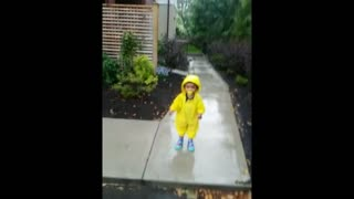 Toddler has second thoughts about jumping in puddle