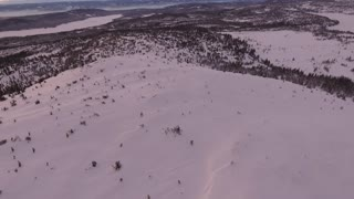 Aerial Shot Of Snowy Mountain