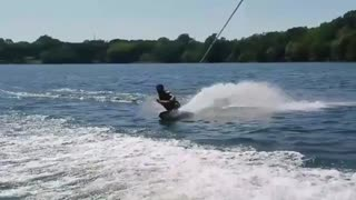 Collab copyright protection - 360 spin kneeboarding lake fail - Video