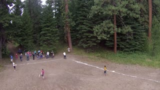 Batted Softball Hits Drone Recording Game - Video