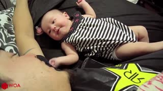 MUST SEE!!!! Baby Cute Cooing Sounds with Daddy Sweet Moment