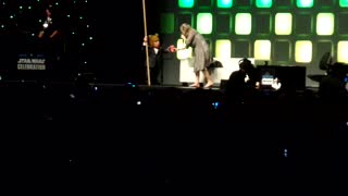 STAR WARS: Dog chasing stage host at Star Wars Celebration 2016 London FUNNY  - Video