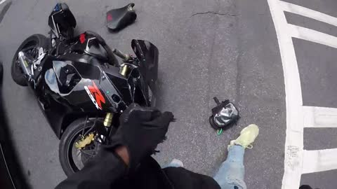 Car Causes Collision for Motorcyclist