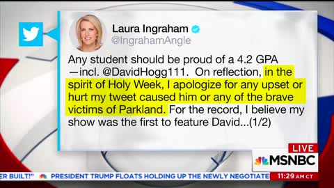 David Hogg Says He Won't Accept Ingraham's Apology, Calls Her a 'Bully'
