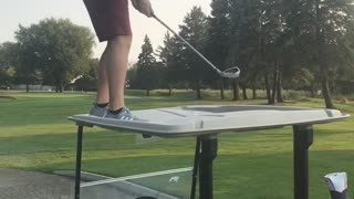 Guy hits golf ball off roof golf cart almost falls - Video