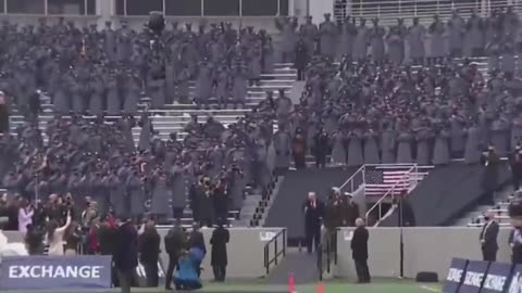 Trump Arriving at the Army-Navy Football Game Today, wonder whose side they are on!
