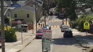 Dude bails on massive hill and runs into car on skateboard