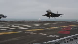 Up-close footage showcases intense fighter jet landing - Video
