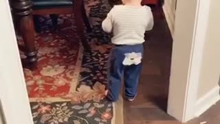 Baby Trying to Give the Dog Water