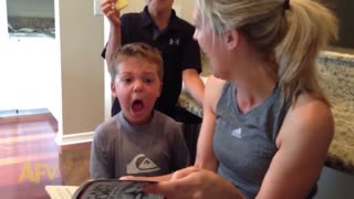Kid has the cutest reaction to scary story - Video