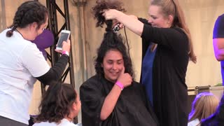 Girl Cries When Shaving Head For Cancer Friends Comfort Her by Singing  - Video
