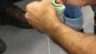 Red shirt guy crotchets on subway - Video