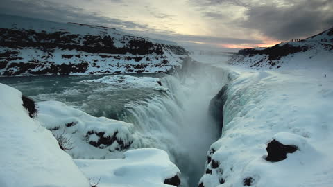 Jaw-dropping flyover of Iceland waterfall
