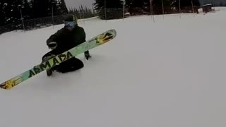 Slowmo ski backwards ramp faceplant - Video