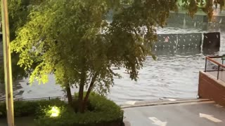 Extreme flooding in Hoboken, NJ after heavy rain storm