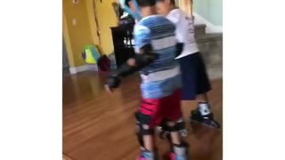 Collab copyright protection - two boys rollerblade helmet kid fall - Video