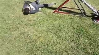 Black red seesaw falls off