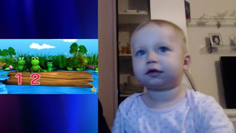 """Adorable baby reacts to """"Five Little Speckled Frogs"""", by LittleBabyBum"""