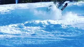 Collab copyright protection - teen skiing flip faceplant snow - Video