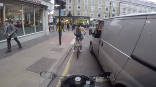 Cyclist Girl Gets Revenge On Catcalling Van Driver - Video