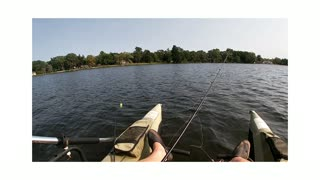 Bass fishing in my portable pontoon boat.