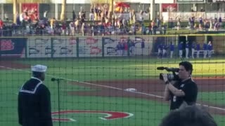 Navy Soldier Sings our National Anthem at Cactus League