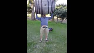 Picking up a wine barrel - Video