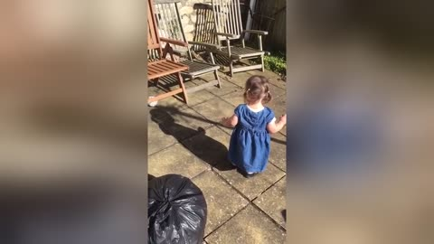 Adorable One-Year-Old Notices Her Own Shadow For The First Time