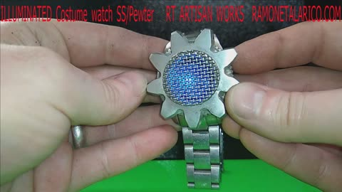 Illuminated Stainless and Pewter Costume watch - RT ARTISAN WORKS