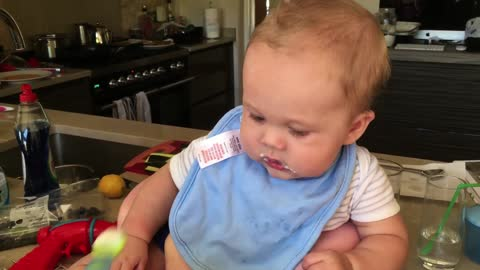 MY SONS FIRST SOLID FOOD