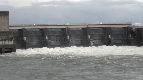 Dam Flood Gates Wide Open-Old Hickory Dam, Old Hickory, Tennessee