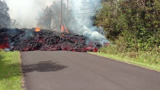 A'a Lava Flow Over Road - Video