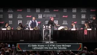 Conor McGregor Tries To Hit Eddie Alvarez with A Chair at UFC 205 Presser - Video