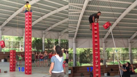Beer crate climbers reach incredible heights