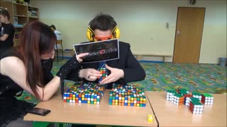 World Record: 41 Rubik's Cubes solved blindfolded! - Video