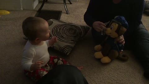 Adorable baby laughs is contagious