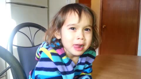 toddler explains how delicious Canadian water is. LOL