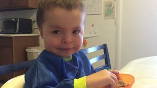 Toddler cries when he hears his sister cry - Video